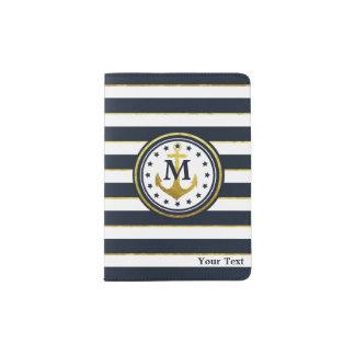 Ancla náutica en marina de guerra/oro porta pasaportes