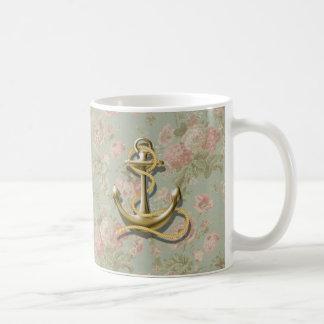 ancla náutica femenina floral del país francés taza de café