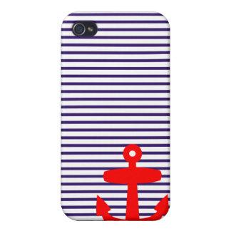 Ancla roja con las rayas bretonas azules iPhone 4/4S carcasas