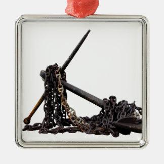 Ancla y cadena adorno navideño cuadrado de metal