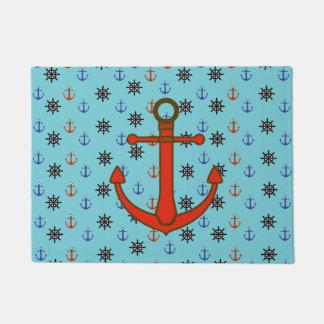 Ancla y estera de puerta náuticas azules y rojas