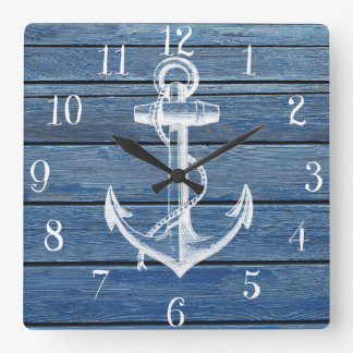 Ancla y madera blancas del azul del vintage reloj cuadrado