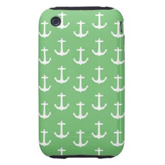 Anclas blancas náuticas contra verde lima carcasa though para iPhone 3