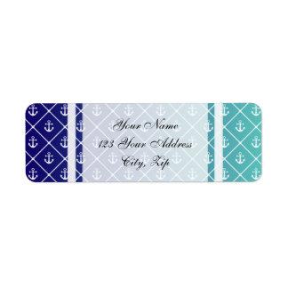 Anclas en trullo de la pendiente al fondo azul etiquetas de remite