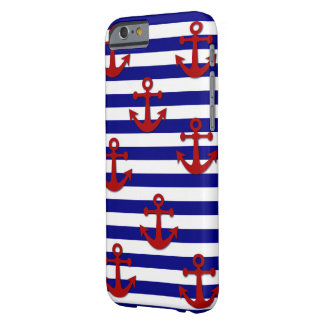 Anclas rojas con las rayas horizontales azules funda barely there iPhone 6