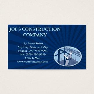 Andamio del trabajador de construcción retro tarjeta de negocios