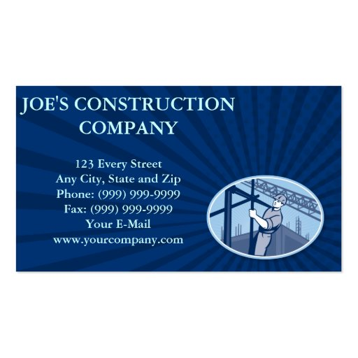 Andamio del trabajador de construcción retro tarjeta de visita