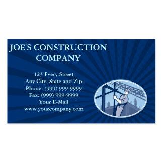 Andamio del trabajador de construcción retro tarjetas de visita