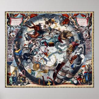 Andromeda celestial del acuario de Cetus del mapa Póster