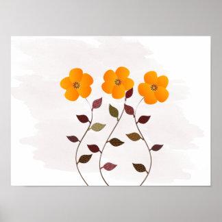 Anémonas amarillas florales lindas que casan el póster