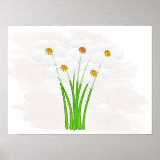 Anémonas blancas florales lindas que casan el póster