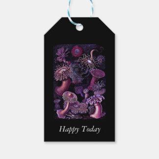 Anémonas en púrpura oscura etiquetas para regalos