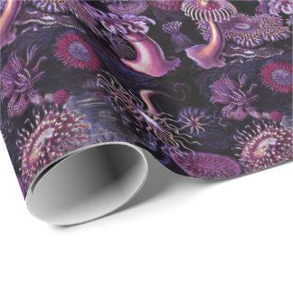 Anémonas en púrpura oscura papel de regalo