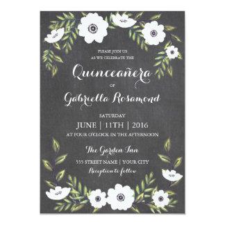 Anémonas pintadas pizarra - Quinceañera invita Invitación 12,7 X 17,8 Cm