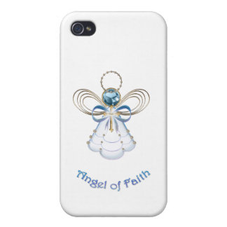 Ángel afiligranado azul del navidad de la fe iPhone 4 cobertura