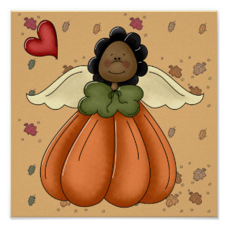 ángel afroamericano de la calabaza posters