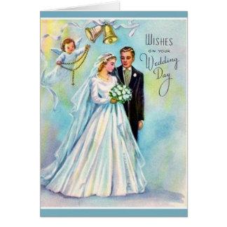 Ángel católico del novio de la novia del rosario tarjeta de felicitación