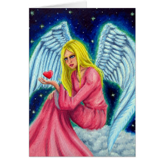Ángel con cariños entre manos tarjeta