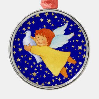 Ángel con la paloma de la paz adorno redondo plateado