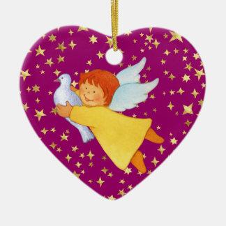 Ángel con la paloma de la paz adorno navideño de cerámica en forma de corazón
