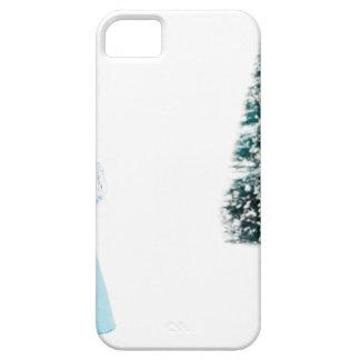 Ángel de cristal azul que ruega cerca del árbol de funda para iPhone SE/5/5s