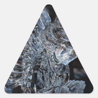 Ángel de cristal que ruega pegatina triangular