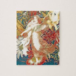 Ángel de guarda con el niño en jardín de flores puzzle