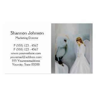 Ángel de guarda del cuidado y búho blanco tarjeta de negocio
