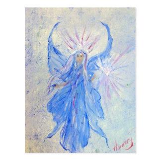 Ángel de hadas azul bendecido del hogar postal