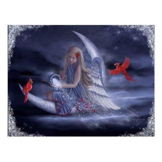 Ángel de la luna del invierno postal