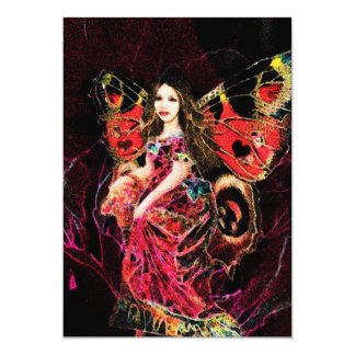 Ángel de la mariposa del corazón invitación 12,7 x 17,8 cm