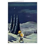 Ángel de la nieve del navidad del vintage que tarjeta