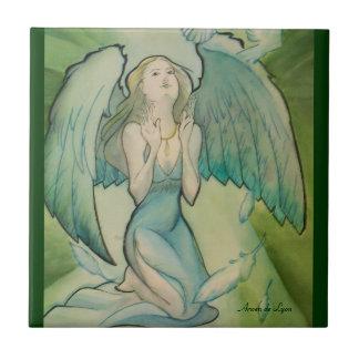Ángel de la paz azulejo cuadrado pequeño