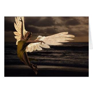 Ángel de la puesta del sol de oro (poema) tarjeta de felicitación
