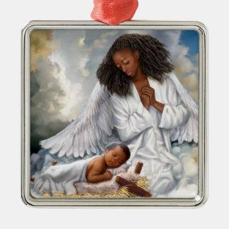 Ángel del Afro y ornamentos del navidad de Jesús