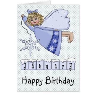 Ángel del cumpleaños de enero tarjeta