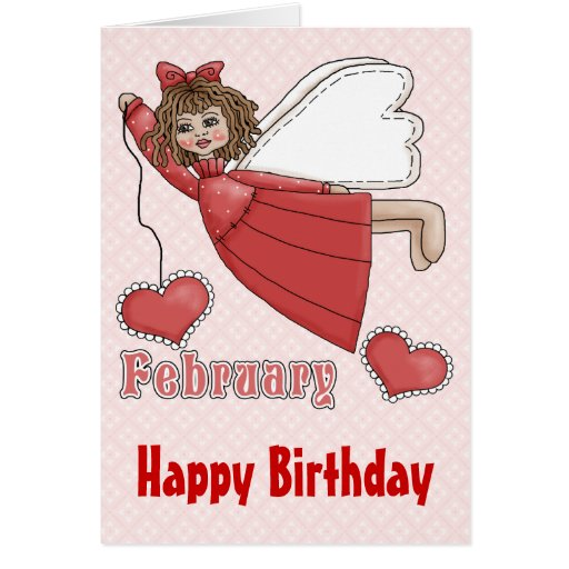 Ángel del cumpleaños de febrero tarjeta