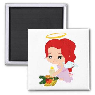 ángel del dibujo animado - imán cuadrado