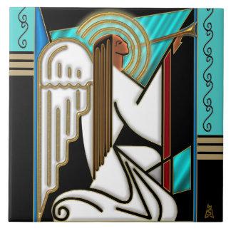 Ángel del navidad del art déco (baldosa cerámica) azulejo cuadrado grande