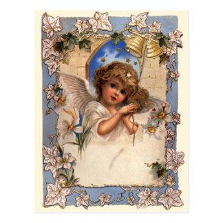 Ángel del navidad del Victorian del vintage con la Postal