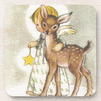Ángel del navidad del vintage con los ciervos del posavasos
