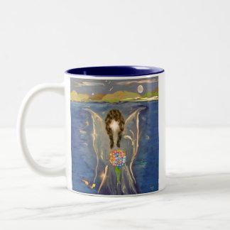 Ángel en el agua taza de café de dos colores