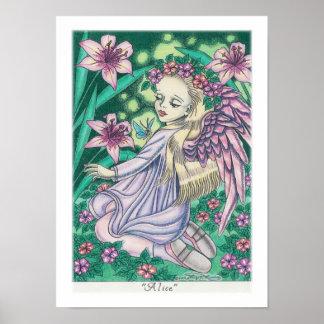 Ángel en jardín con los lirios Alicia Poster