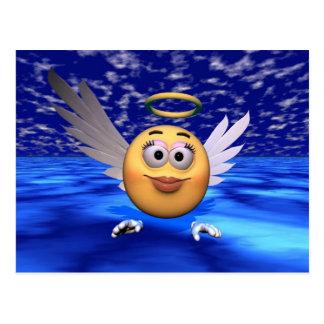 ángel feliz de la cara postal