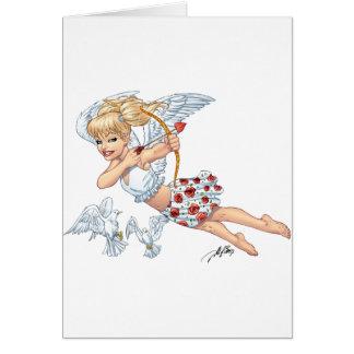Ángel lindo del Cupid con la flecha de amor por el Tarjeta De Felicitación