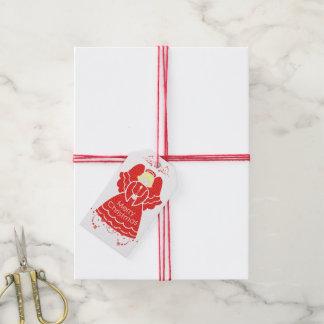 Ángel rojo del navidad del cordón con la vela etiquetas para regalos