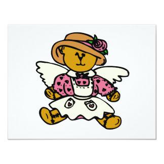 Ángel rosado invitación 10,8 x 13,9 cm