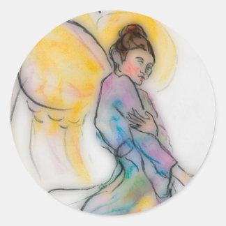 ángel suave pegatina redonda
