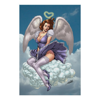 Ángel trigueno modelo con halo del corazón por el póster