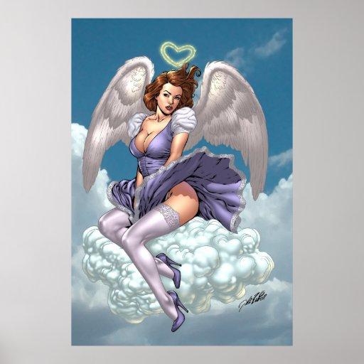 Ángel trigueno modelo con halo del corazón por el  posters